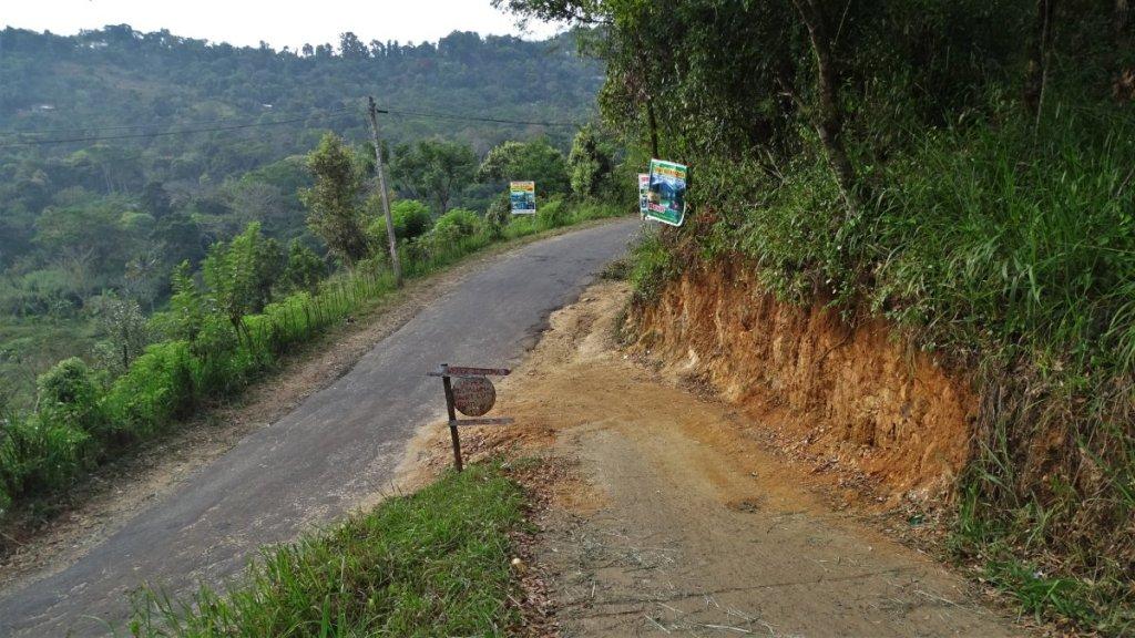 A sign to a sharp upward turn to upper Diyaluma Falls hiking path