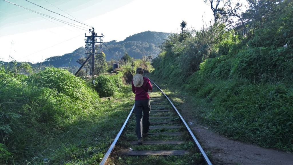 The author walking down the single railway, mountains in front of her