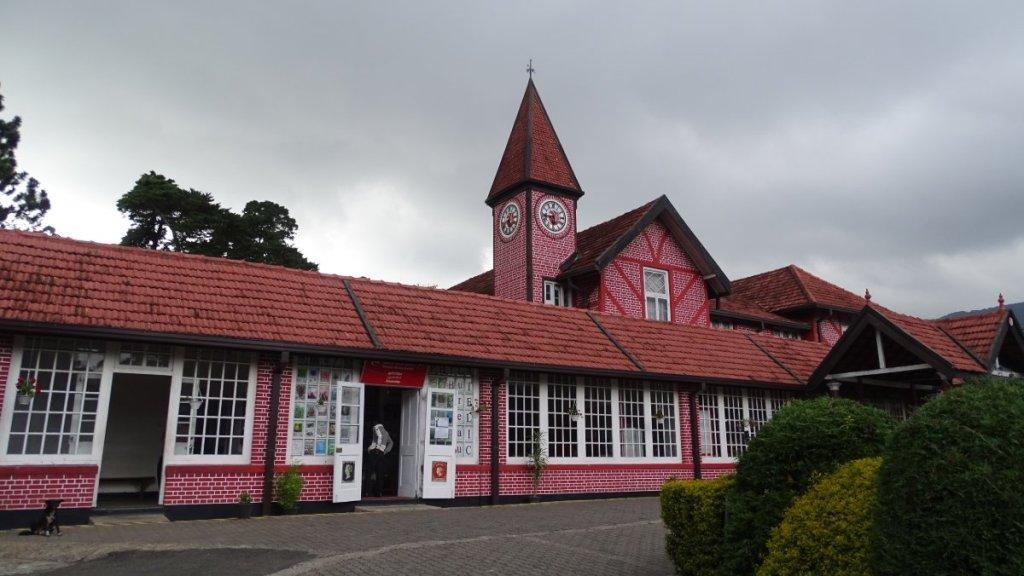 A red-brick mock-Tudor building of the post office in Nuwara Eliya, Sri Lanka