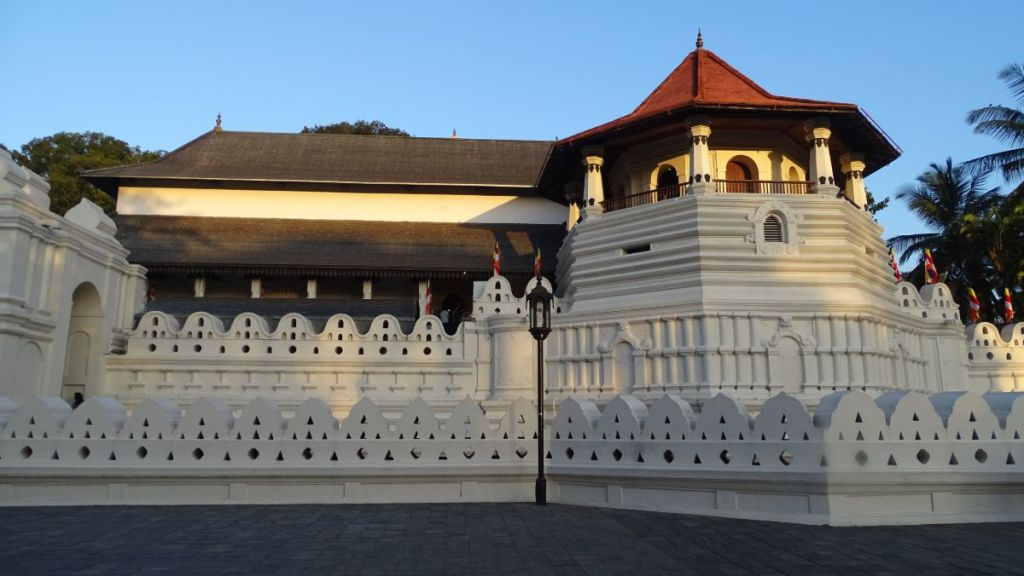 White double walls and an octagonal tower of the Temple of the Sacred Tooth in Kandy
