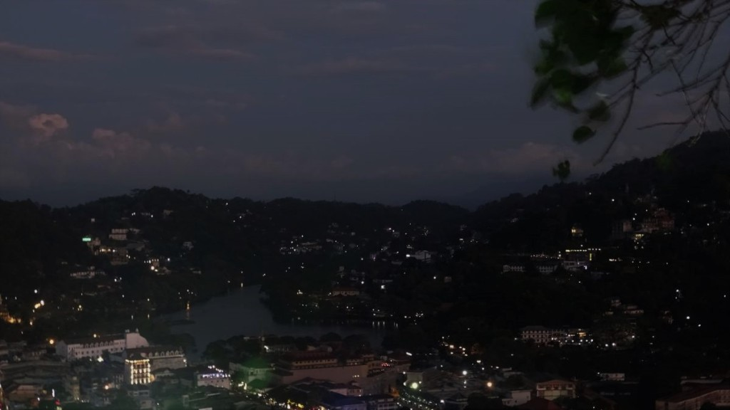 Nighttime view at Lake Kandy and Kandy center from Kandy City Viewpoint