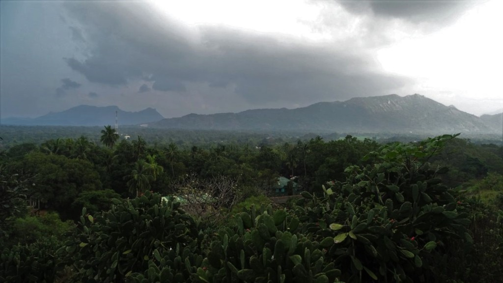 A view from Dambulla rock at the mountains on the horizon and green plains below