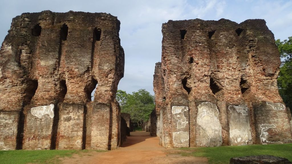 Thick, tall walls are all that is left from the monumental Royal Palace at Polonnaruwa