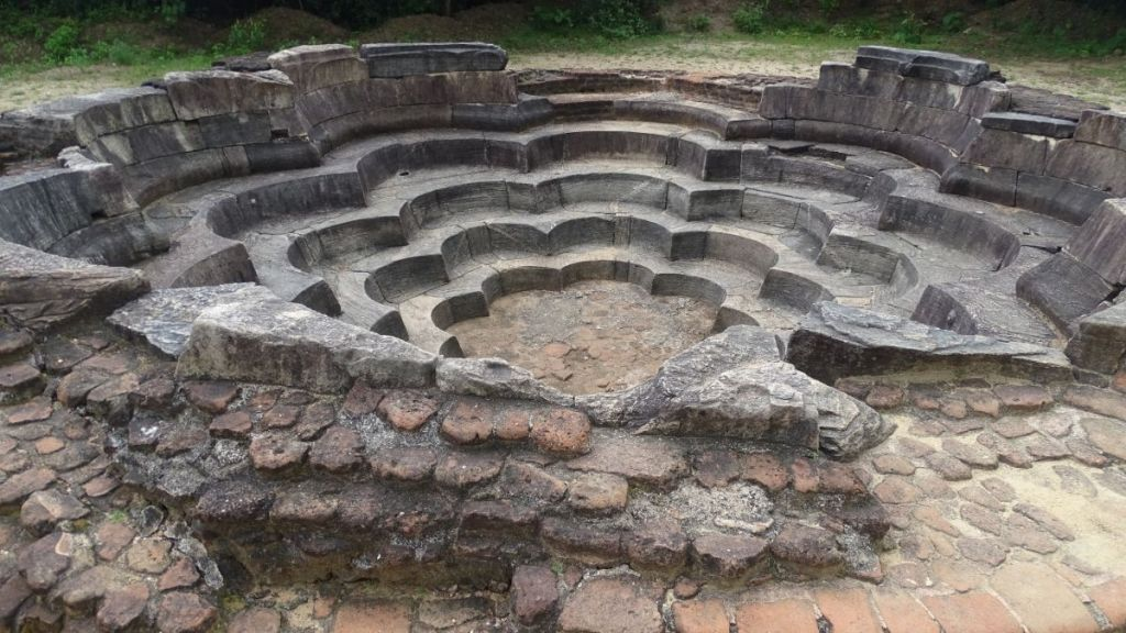 A stone, lotus-shaped pool at Polonnaruwa ancient city
