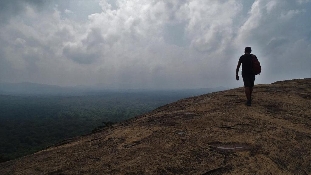 Man reaches the edge of the Pidurangala rock looking over the green plains below