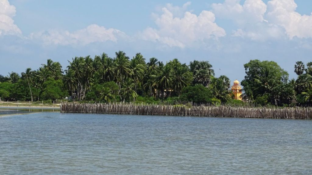 A yellow tower of a temple looms in between of coconut palm trees across a salty lagoon in Kalpitiya
