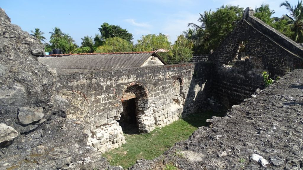 Roofless ruins of a church within the Dutch fortress in Kalpitiya