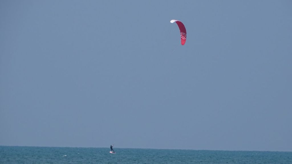 A kite surfer on the water in Kalpitiya