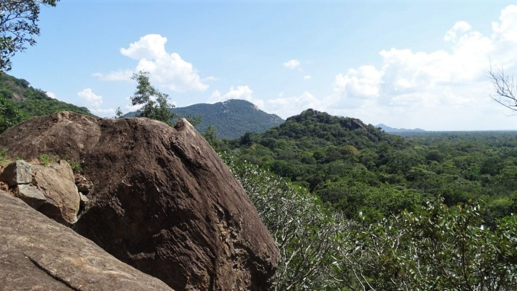 A view from a rock over forest-covered plains and hills in Mihintale, Sri Lanka