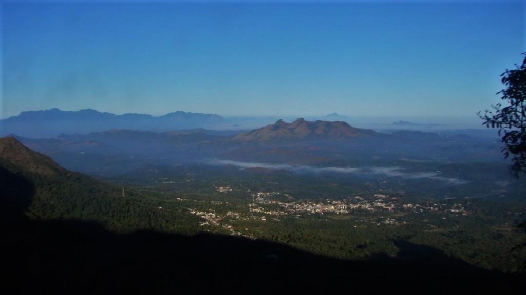 Mist-shrouded Western Ghats mountain range spreads across the horizon in western Tamil Nadu