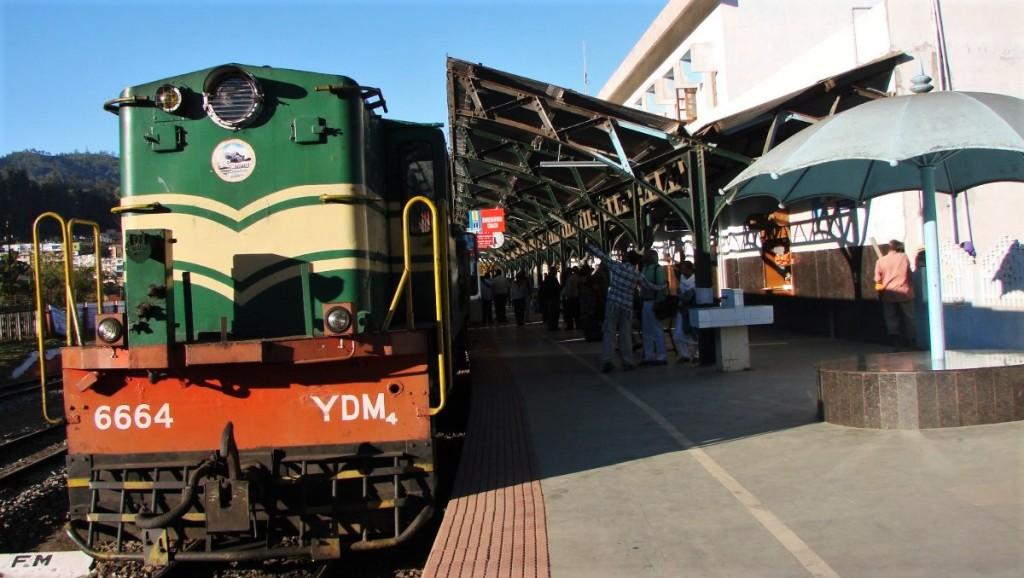 Train of narrow-gauge Nigliri Mountain Railway stands at the station in Tamil Nadu