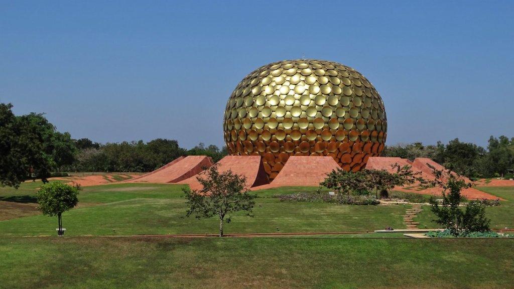 A golden sphere serving as a meditation/prayer hall in Auroville