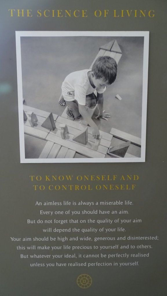 'The Science of Living: To know Oneself and to control Oneself' - a poster from Auroville Visitors Centre
