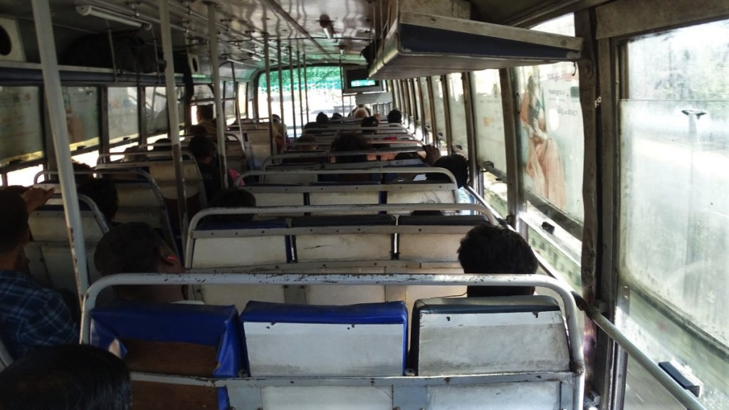The interior of an old but relatively well kept long distance bus in Tamil Nadu