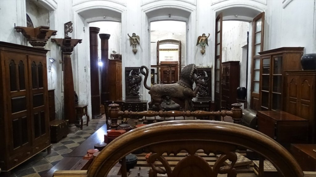 A medley of wooden furniture and sculpture at the French Institute in Puducherry