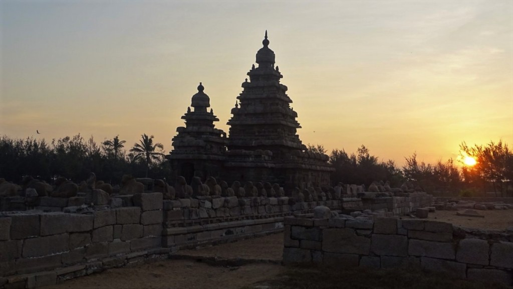 A two pyramid towers of the Shore temple at dawn