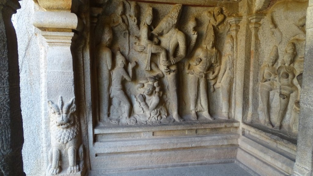 A stone-cut relief depicting god Vishnu with a head of a wild boar in one of the temples in Mamallapuram