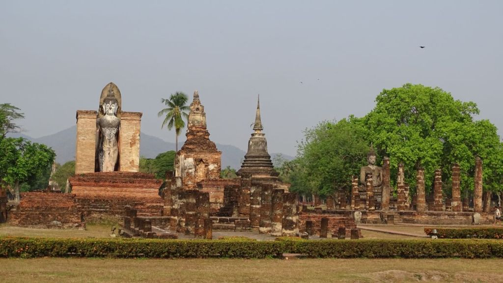 The ruins of the temples and Buddha statues in Sukhothai, in central Thailand